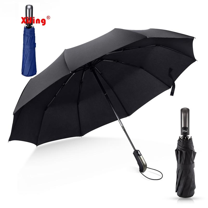 Novo preto resistente ao vento dobrável automático guarda-chuva chuva feminino auto luxo à prova de vento guarda-chuvas chuva revestimento preto