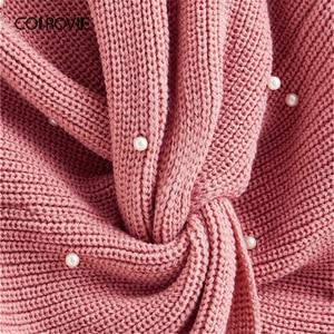 Image 4 - COLROVIE Plus Pearl zroszony na krzyż skręt sweter kobiet 2019 jesień elegancka różowy V neck swetry z długim rękawem na co dzień swetry