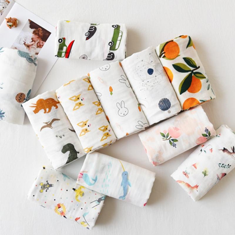 Baby Blanket Muslin Swaddles Soft Newborn Blankets Cotton Infant Wrap Sleepsack Stroller Cover Play Mat Cartoons Baby Blanket