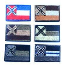 Резиновые повязки тактический знак личности на рюкзак шляпа одежда куртка патч американский государственный флаг на липучке повязку 7.65*5,08 см