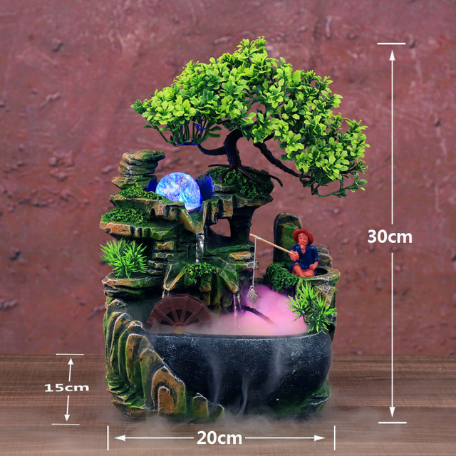 LED Waterfall Statue Indoor Simulation Resin Rockery Desktop Fountain Geomantic Meditation Micro Landscape Home Garden Decor 1