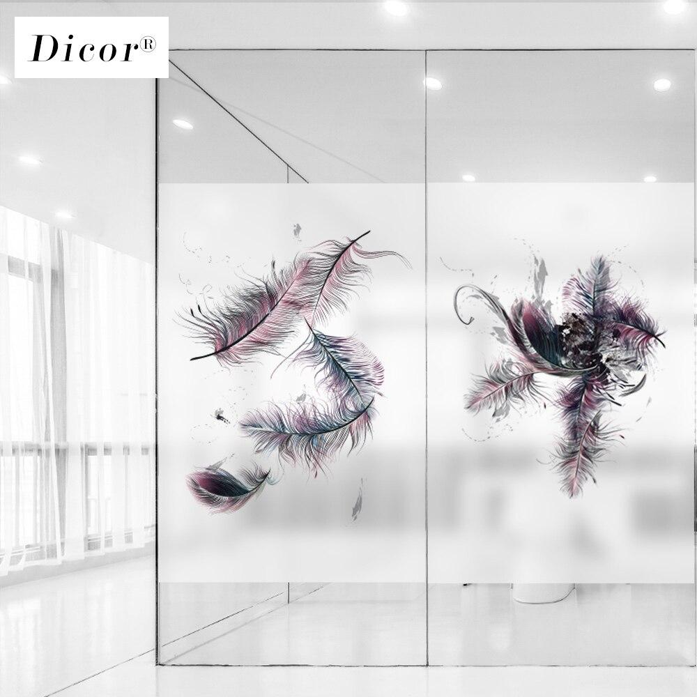 Dicor arte penas decorativo janela filme vitral padrão janela adesivo de vidro fosco decoração da casa moderna sem cola blt1223