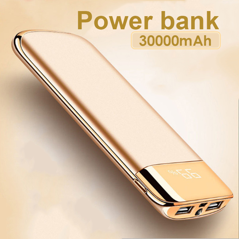 For Xiaomi MI Iphone 7 8 XR 11 30000mah Power Bank External Battery PoverBank 2 USB LED Powerbank Portable Mobile Phone Charger