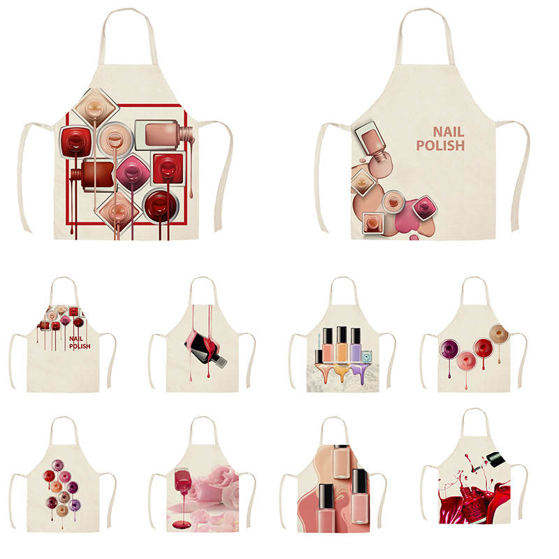 1Pcs Kitchen Apron Color nail polish bottle Printed Sleeveless Cotton Linen Aprons Men Women Home Cleaning Tools 55*68cm WQ04
