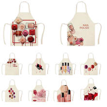 1Pcs Kitchen Apron Color nail polish bottle Printed Sleeveless Cotton Linen Apro