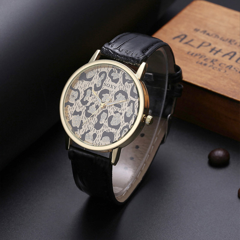Ladies Luxury Brand Leopard Print Fashion Casual Quartz Wrist Watch SOXY Stainless Steel Case Leather Belt Women Clock Gift
