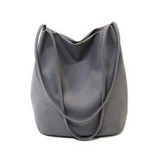 Женские кожаные сумочки, черные женские сумки-ведра на плечо, женские ручные сумки через плечо, Вместительная женская сумка для покупок