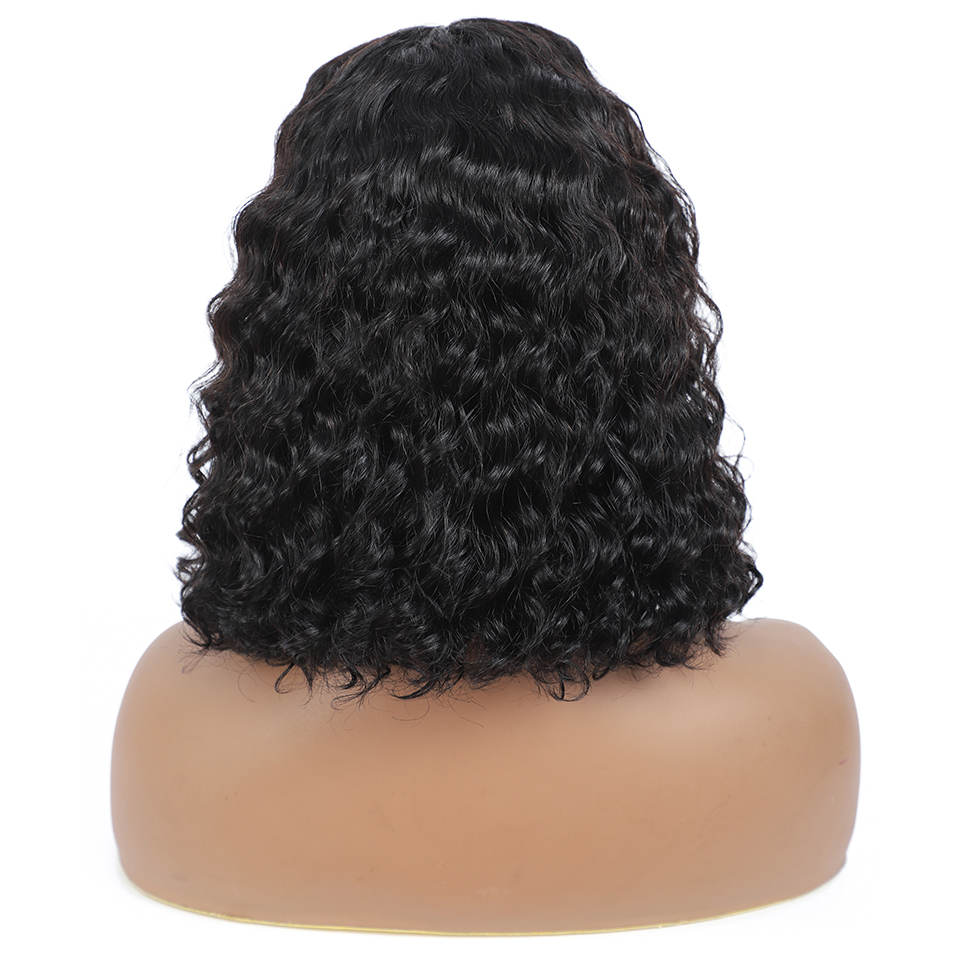lace front human hair wigs for Black Women deep wave curly hd frontal bob wig brazilian afro short  water wig 4*4 4