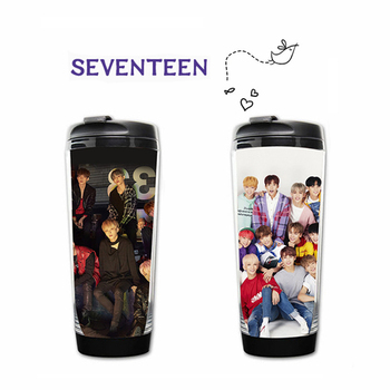 Kpop SEVENTEEN Peripheral Products Water Cup SEVENTEEN Curve Cup Double Layer Plastic Cup SEVENTEEN Fans Gifts Drop Shipping фото