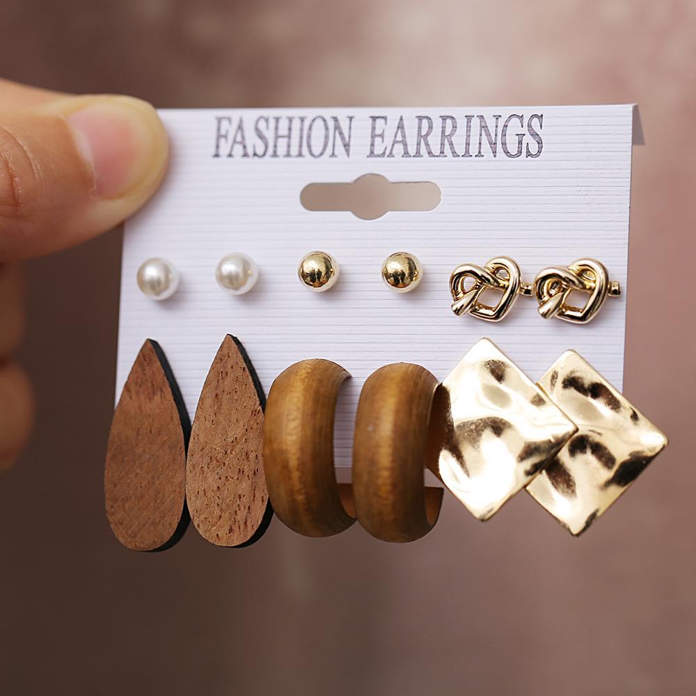 17KM 2020 Vintage Wood Drop Earrings For Women Brincos Geometric Gold Metal Knot Dangle Earrings Set Femme Fashion Jewelry New