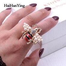Новинка модные женские кольца в виде пчелы с жемчугом женское