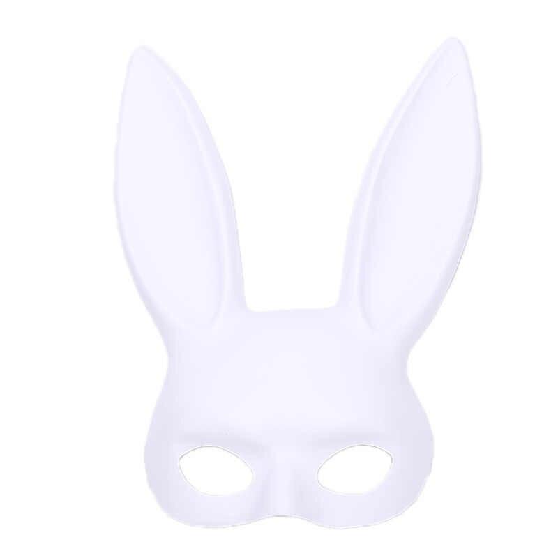 สีดำผู้หญิงสาวเซ็กซี่กระต่ายหูกระต่ายน่ารักหูยาว Bondage หน้ากากฮาโลวีน Masquerade PARTY เครื่องแต่งกาย COSPLAY Props