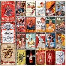 [Wellcraft] budweiser cerveja sinais de metal cartazes retro placa de parede pub personalizado decoração LTA-2010