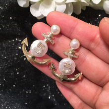 pearl zircon anchor Earrings shell  luxury  fashion jewelry  indian  5 five cross boho  earrings for women vintage cross anchor sweater chain for women