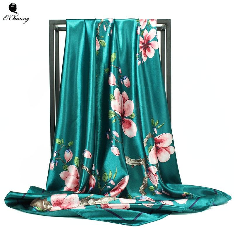O CHUANG Satin Silk Scarf Women Fashion Flowers Foulard Square Shawl Scarfs Large 90*90cm Silk Hair / Head Scarves Bandana