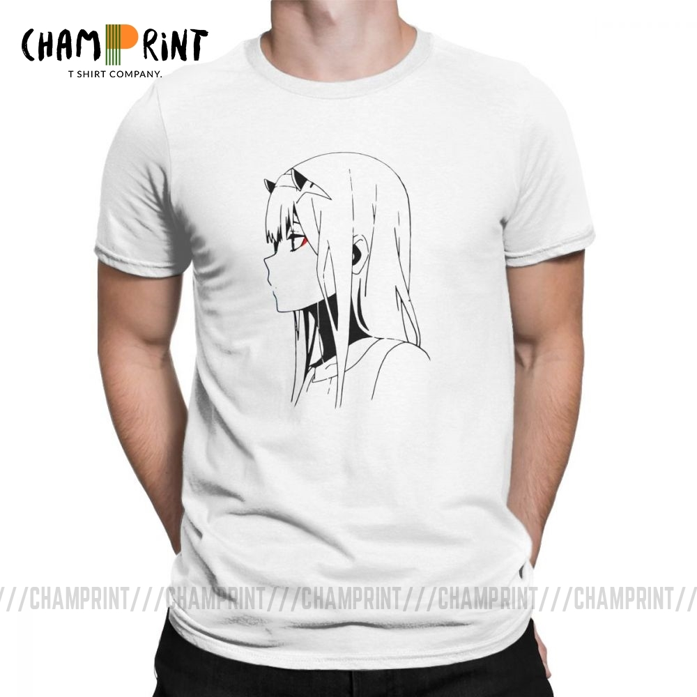 Zero Two Darling In The Franxx Cool Movie Men's T Shirt 100% Cotton T-Shirt Short Sleeved Clothes Vintage Tees Plus Size Tops