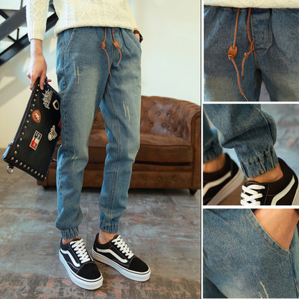 New Style Summer Beam Leg Jeans Thin Slim Fit Pants Skinny Pants Korean-style Teenager Loose-Fit Trousers Fashion