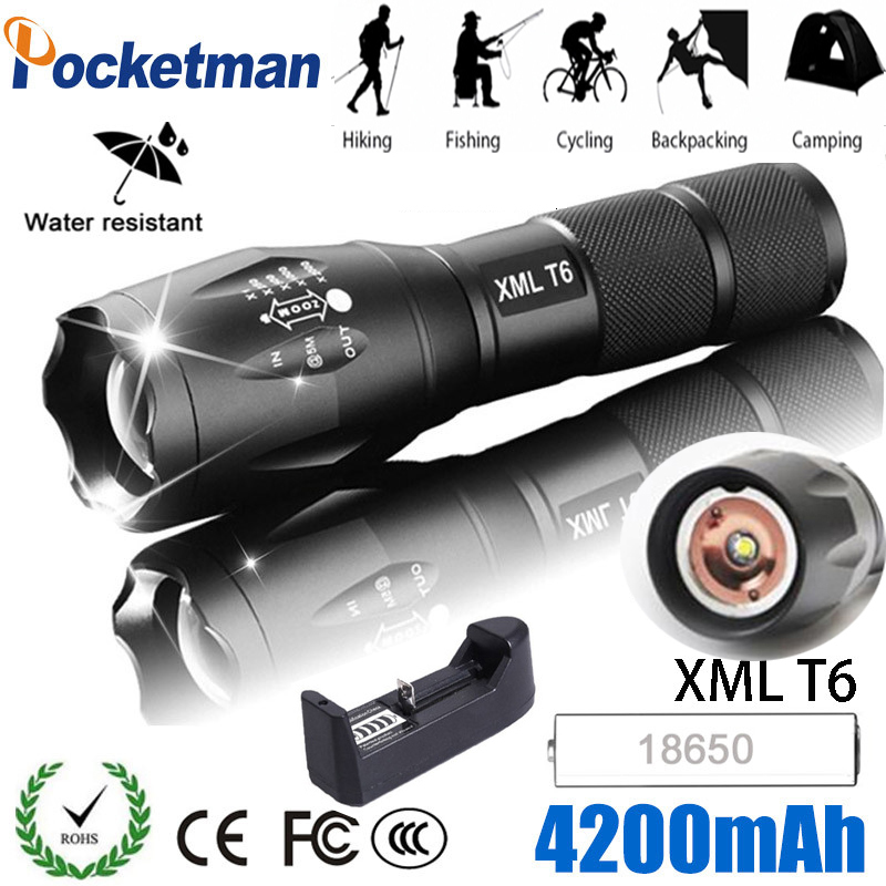 Ultra Bright Rechargeable LED Flashlight With T6 lamp Adjustable Focus 5Modes Zoomable light Torch Lantern Free Ship 1*18650