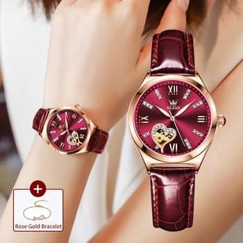New Luxury Women Watches Automatic Mechanical Leather Wrist Watch Rhinestone Ladies Fashion Bracelet Set Gift Top Brand часы 1