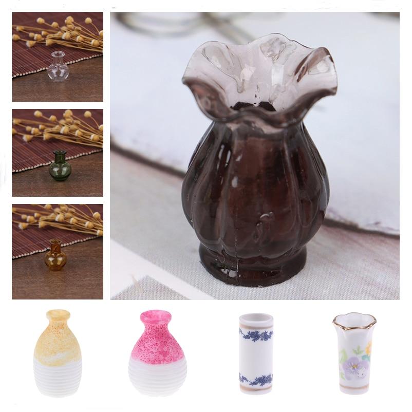 1pc Cute Dollhouse Mini Ceramic Porcelain Vase Accessories Doll House Miniatures 1:12 Accessories Decorative Miniature