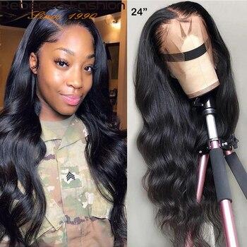 Rebecca 150% 360 dantel ön peruk vücut dalga İnsan saçı peruk siyah kadınlar için bebek saç ile brezilyalı dantel ön İnsan saçı peruk