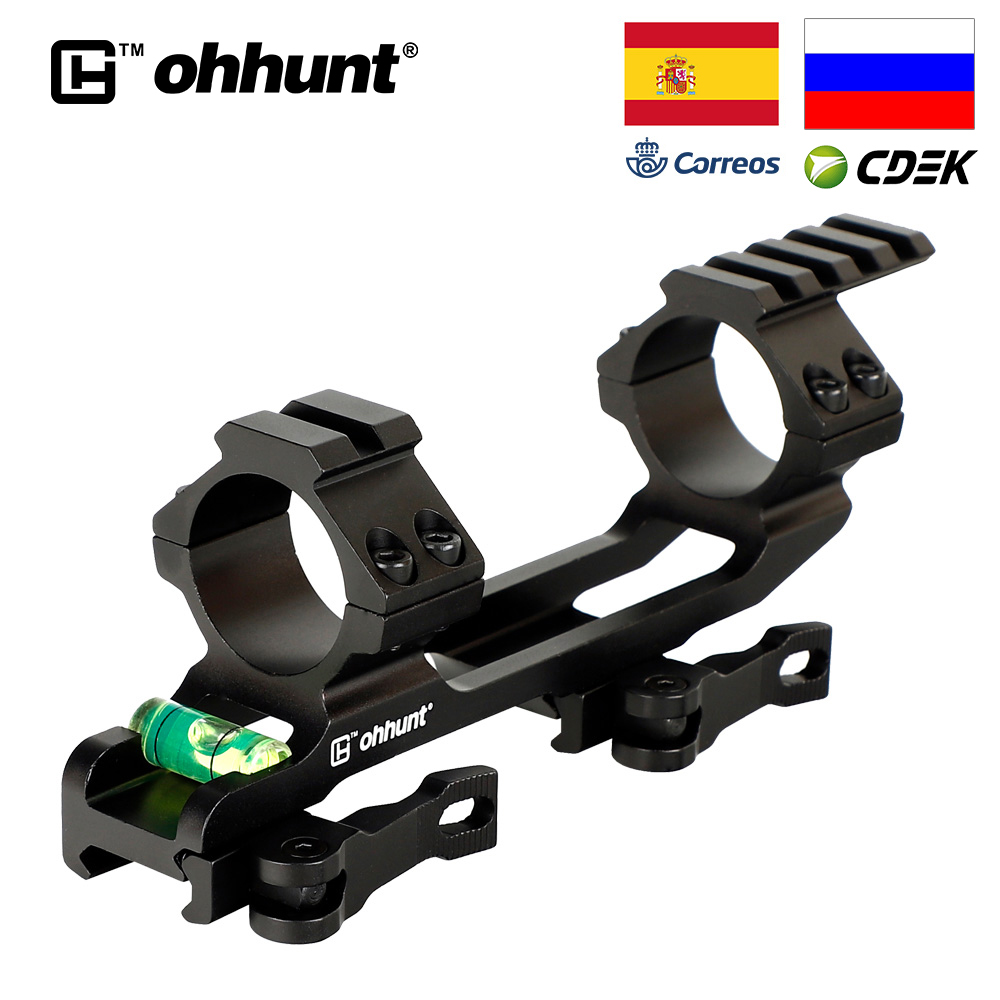 ohhunt QD 1 inch 30mm Rings Integral Hunting Scope Mount Picatinny Rail Ar15 Ak 47 Bracket for Optical Sight with Bubble Level image