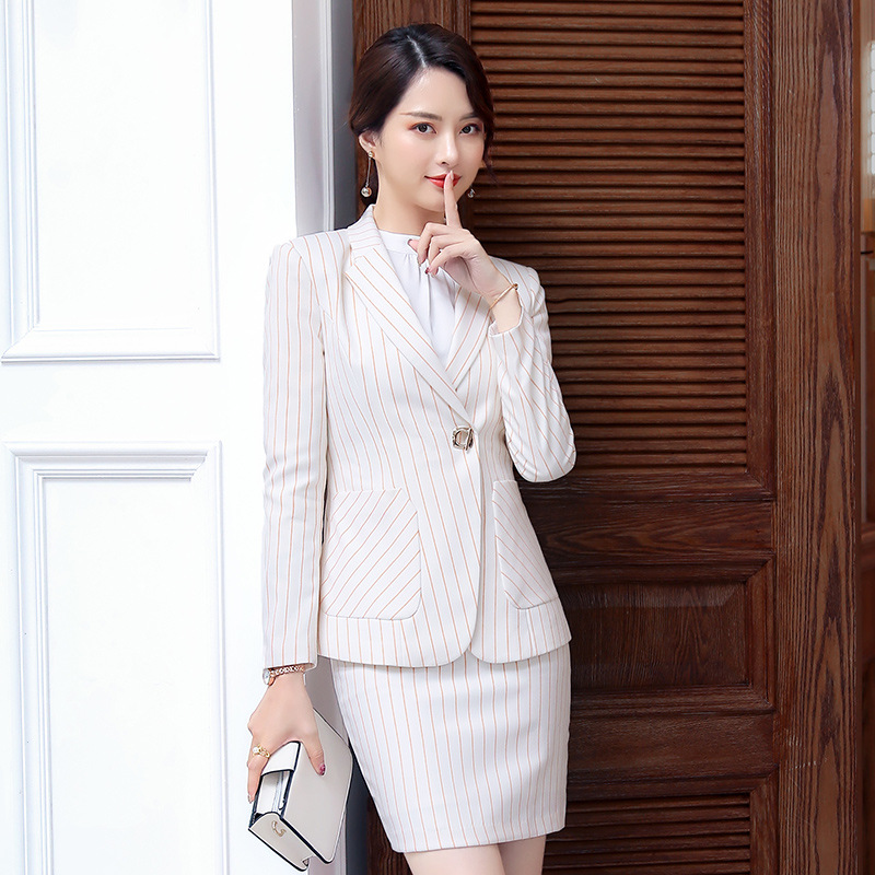 Female Elegant Stripe Formal Office Work Pant Suits 2 Pieces Set for Women's Suit Set Blazer and Trouser Pant Business Clothing