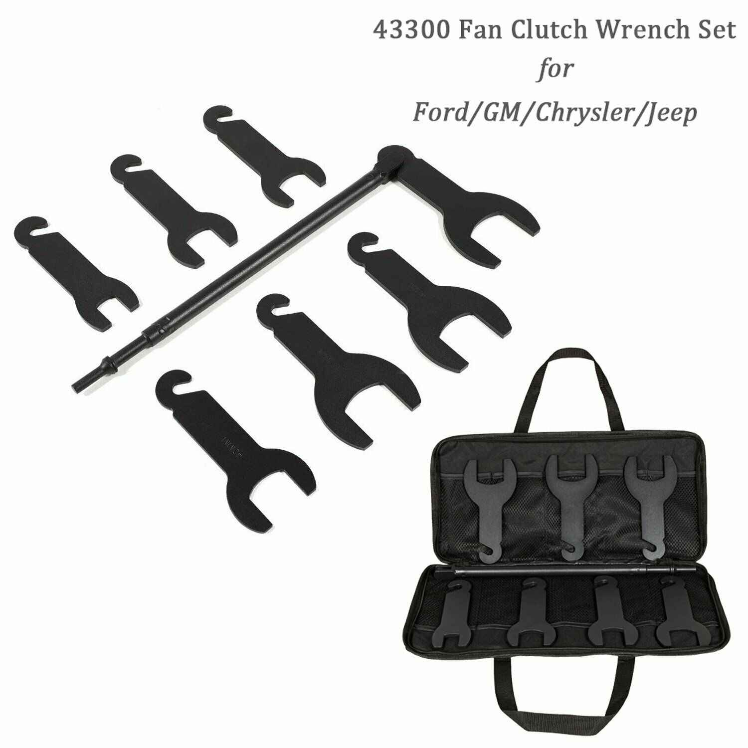 For Ford//GM//Chrysler//Jeep 43300 Pneumatic Fan Clutch Wrench Set Removal Tool Kit