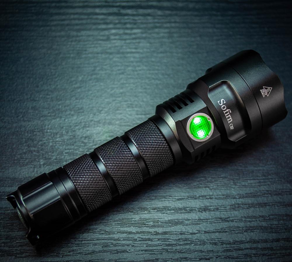 Sofin-réflecteur Triple réflecteur C8F 21700, puissant lampe de poche LED, LH351D, lampe torche Super lumineuse 2700K 5000K