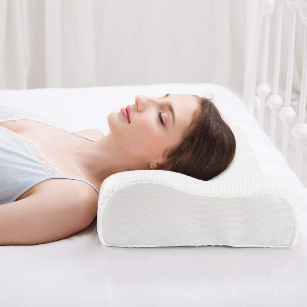 Stomach Sleepers Back Cervical Memory Foam Pillow for Neck and Shoulder Pain Ergonomic Free Sleeping Mask Premium Bedding Accessories Orthopedic Pillow for Side Pillows for Sleeping