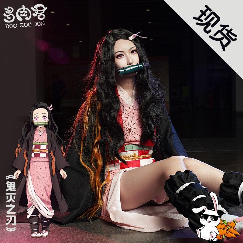 Kamado Nezuko Cos Demon Slayer Cosplay Kimono Uniforms Costume In Stock Free Shipping