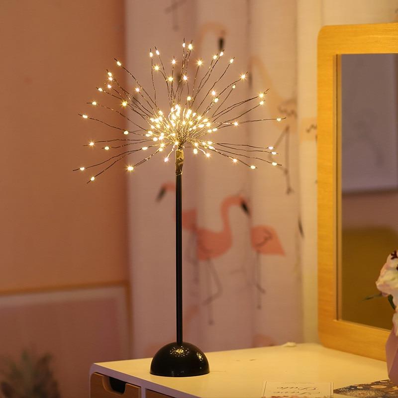Led Dandelion_lamp 100 LED Firework Starburst Light Desk Table Lamps Night Light USB/Battery Powered For Home Party