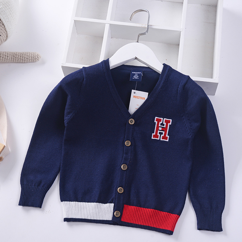 Cute Letters Elegant Thin Boys Girls Cardigans Spring Fall Kids Sweaters Knitted Wear Children's Clothing