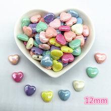 30 pçs 12mm ab cor em forma de coração contas de acrílico solto espaçador contas para fazer jóias diy pulseira artesanal