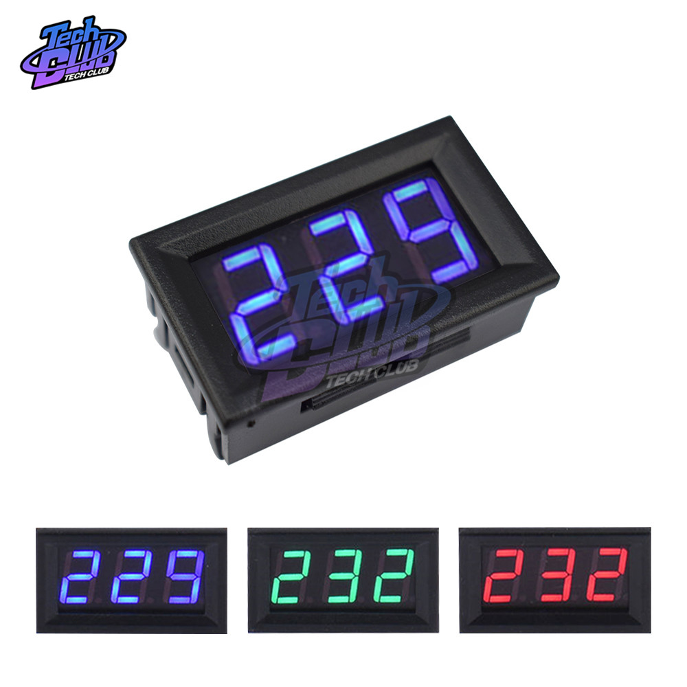 110V 220V Digital Voltmeter AC 70V-500V 0.56 Inch LED Digital Panel Volt Meter Voltage Tester RED/GREEN/BLUE Monitor 2 Wires