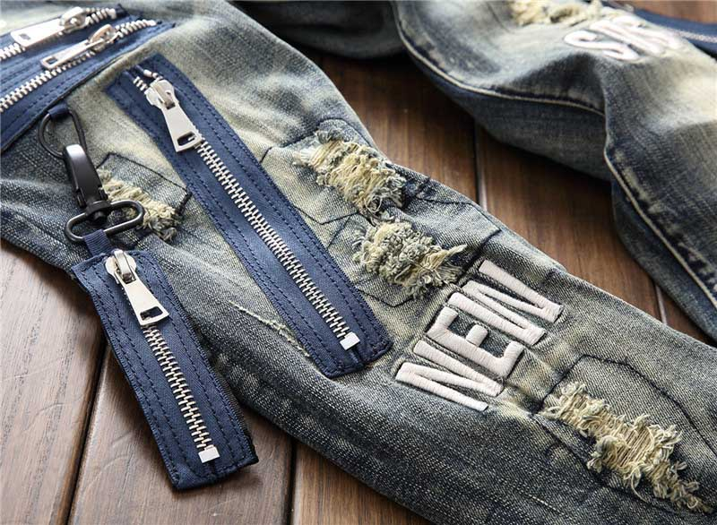 Mcikkny Fashion Men`s Hip Hop Ripped Jeans Pants Multi Zipper Patchwork Denim Trousers For Male Letter Embroidered (5)