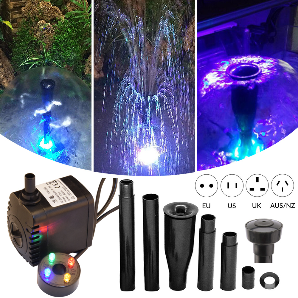 Aquarium Water Pump Garden Fountain Water Pump Fish Tank Oxygen Pump Aquariums Oxygen Pump With Led Light Fountain Maker D20