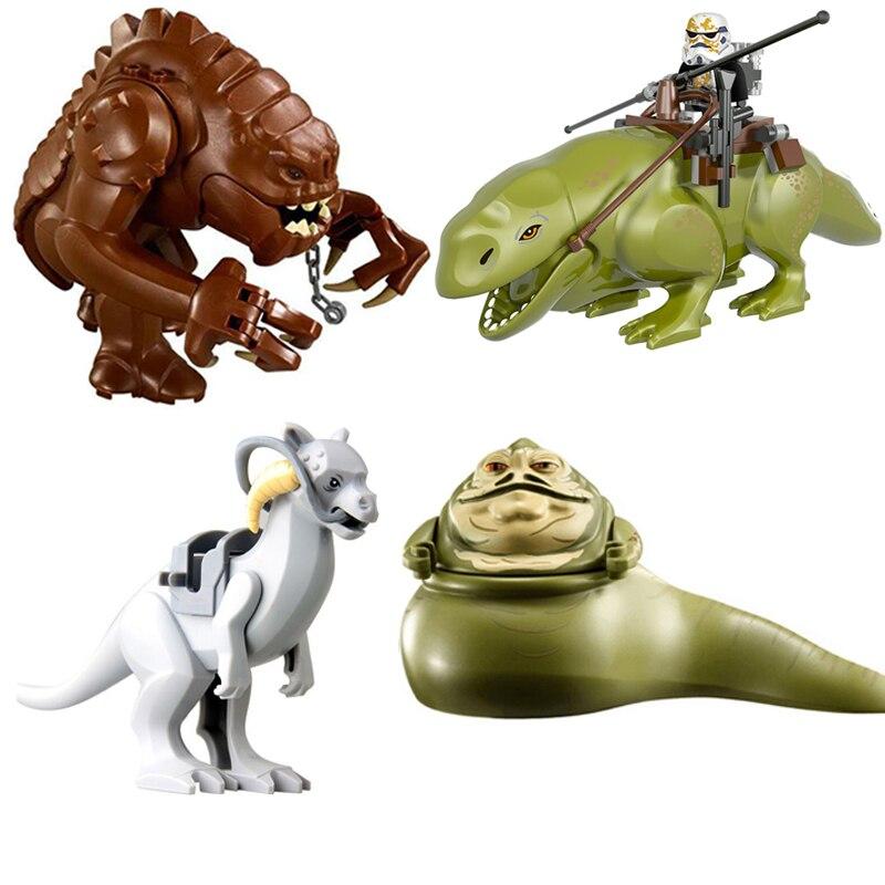 4Pcs Star Wars Dewback Rancor Jabba Tauntaun Figures Compatible Lepining Building Blocks Starwars Model Toys for Children Gift