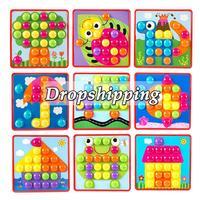 6 أنواع ثلاثية الأبعاد الألغاز لعب للأطفال الإبداعية فسيفساء الفطر صندوق عناية بالأظافر أزرار الفن تجميع الأطفال التنوير ألعاب تعليمية
