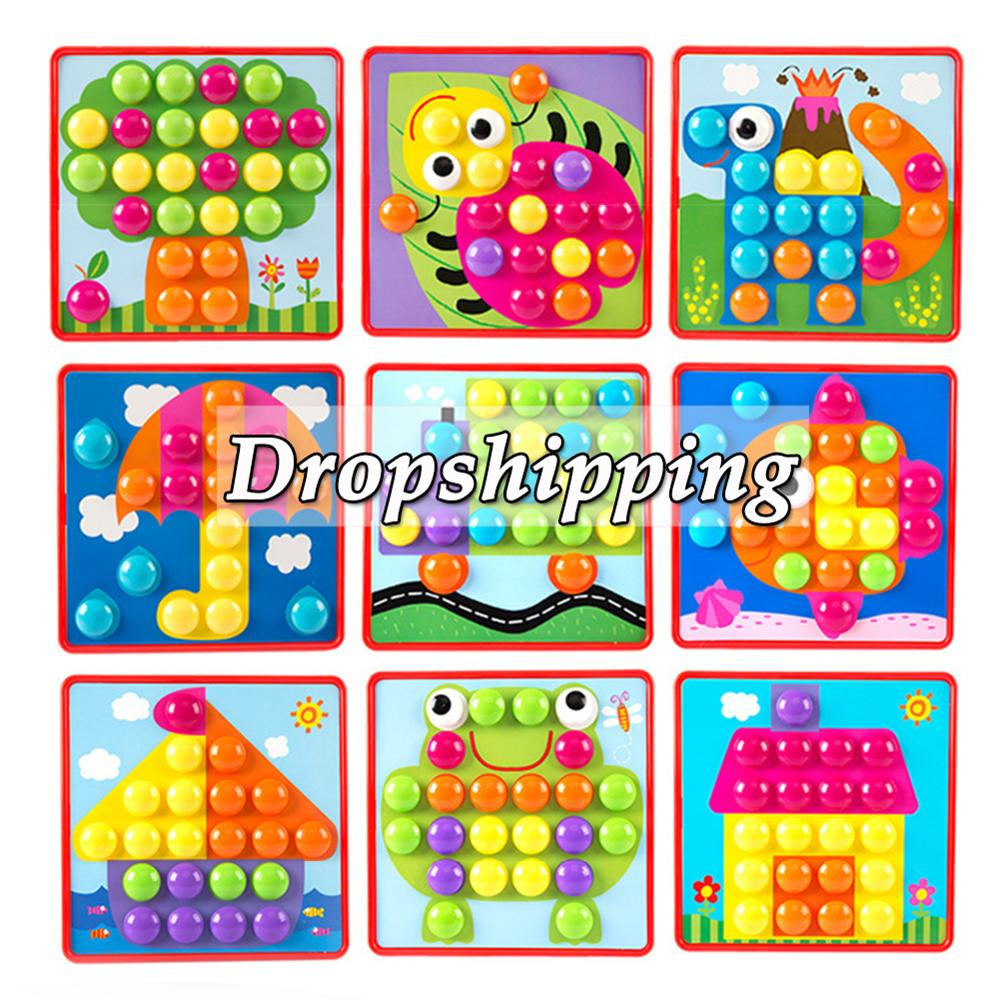 6types 3D Puzzles Toys For Children Creative Mosaic Mushroom Nail Kit Buttons Art Assembling Kids Enlightenment Educational Toys