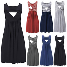 Sleeveless Maternity Dresses Pregnancy Breastfeeding Nursing Dress For Pregnant Women Vestidos V-Neck D20