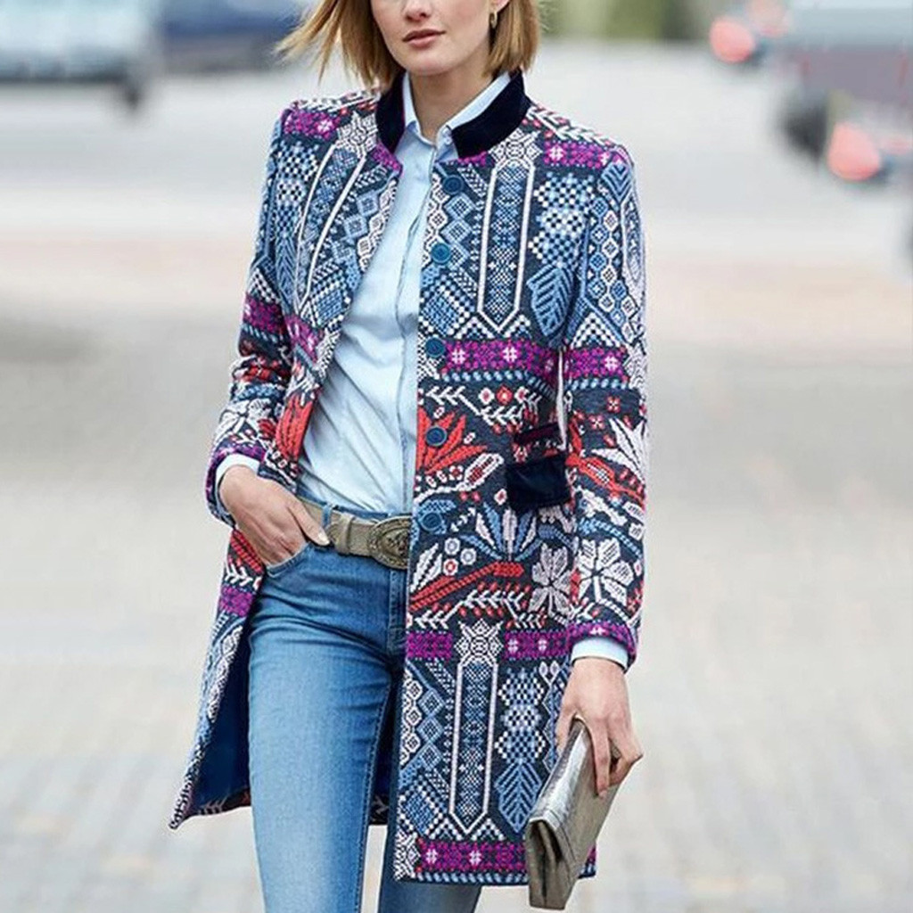 Floral Print Shawl Collar Slim Fitted Blazer Women Spring Autumn Office Ladies Long Sleeve Elegant Coat Outwear Blazers#3
