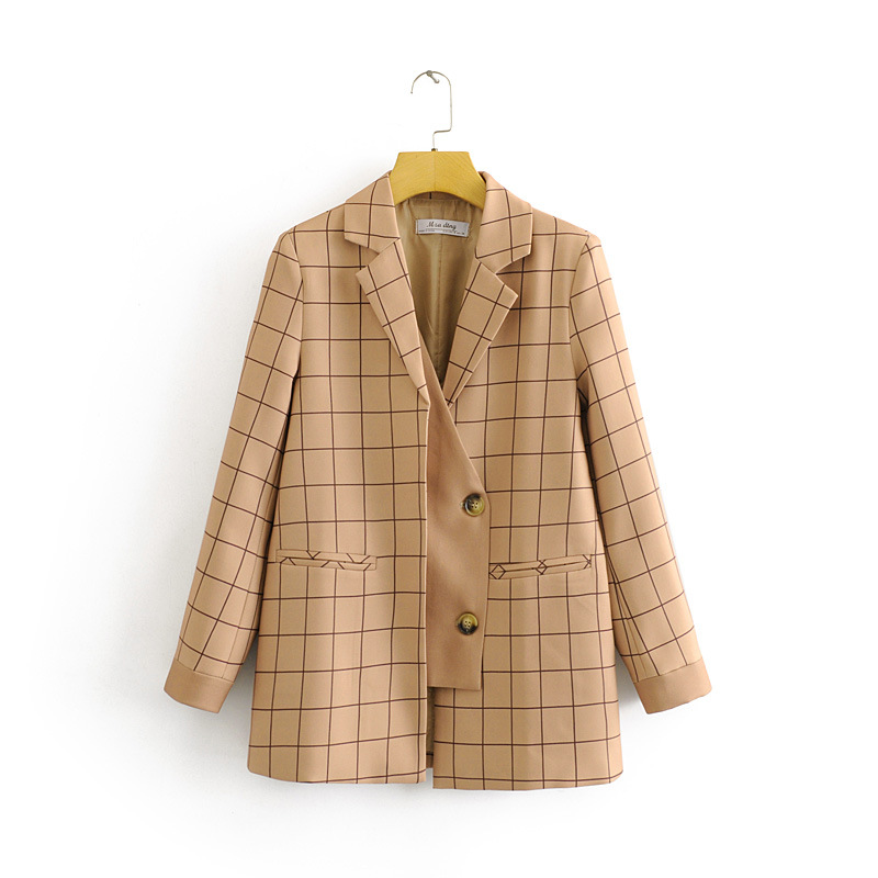 2020 New Spring Summer Plaid Zaraing Women Suit Jacket Coat Vadiming Sheining Female Small Business Suit Jacket Dft27542