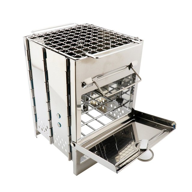Stainless Steel Square Wood Stove Foldable Grill Outdoor Mini Charcoal Stove Portable Bbq Picnic Stove