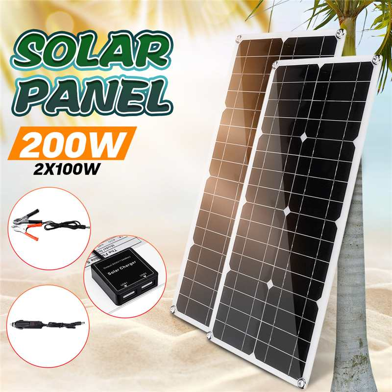 <font><b>200W</b></font>/100W <font><b>Solar</b></font> <font><b>Panel</b></font> 18V Monocrystalline <font><b>Solar</b></font> Cell 30cm DC Male Cable Waterproof Outdoor Connector Battery Charger for Outdoor image