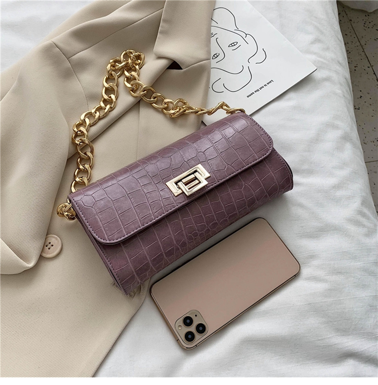 Crocodile Pattern Vintage Soild Color Small Square Bag For Women 2020 summer Handbag And Small Chain Bags Fashion Armpit Bag (22)