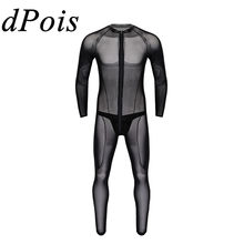 DPOIS Men Thong Leotard Bodysuit Homme Man Transparent Lingerie Teddy Catsuit Latex Briefs Underwear Sleepwear Clubwear Swimsuit(China)