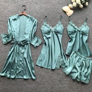 Image 2 - ซาตินเซ็กซี่ลูกไม้ชุดนอน 4 ชิ้นชุดชุดนอนผ้าไหมชุดนอนสปาเก็ตตี้สตรี Pijama ชุดนอนทรวงอก