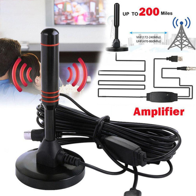 HD Digital Indoor Amplified TV Antenna 200 Miles Ultra HDTV With Amplifier VHF/UHF Quick Response Indoor Outdoor Aerial HD Set 1