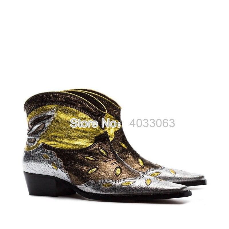 Las nuevas botas de vaquero Vintage para mujer de cuero de gamuza bordadas botas de tobillo marrón tacones bajos deslizantes en barcos occidentales Sapato femenino - 6